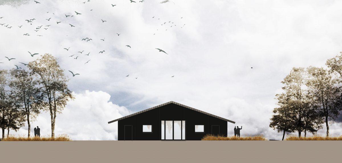 BAS front facade in black wood